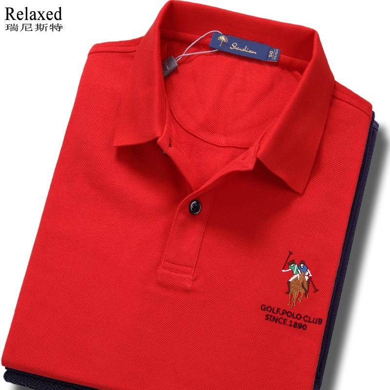 保罗短袖polo衫T恤品牌男装翻领T带领上衣服半袖本命年大红色夏季