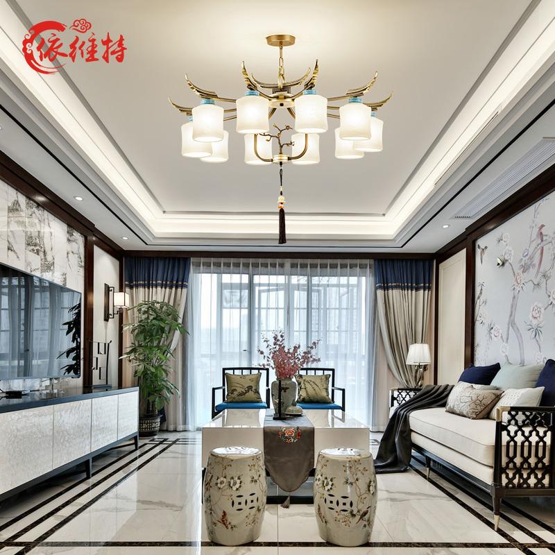 新中式吊灯现代简约客厅灯具创意个性中国风别墅复式楼酒店餐厅灯-依维特旗舰店