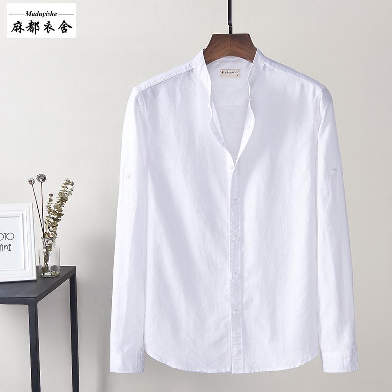 男士小立领亚麻长袖衬衫韩版男装宽松大码透气开衫棉麻白色衬衣男
