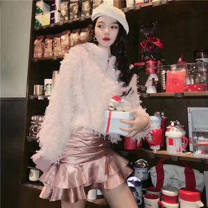 福生地素娅子2020春季新款甜美百褶包臀荷叶边半身裙短裙3C1S217
