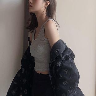 网红爆款美背短款小吊带运动背心女夏韩版内搭打底露脐上衣外穿潮图片