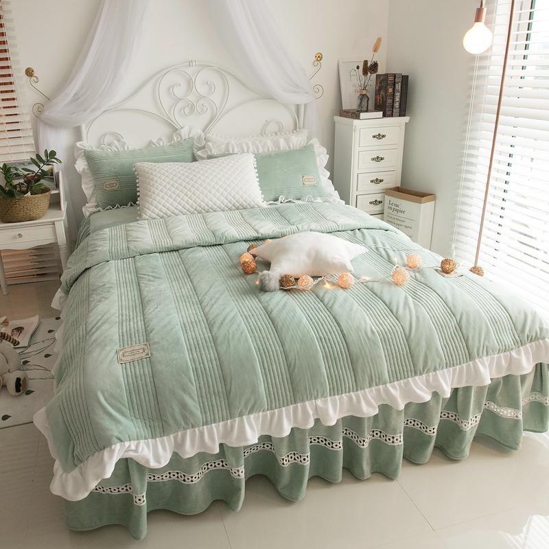 冬季加厚公主风天鹅绒珊瑚绒保暖夹棉四件套水晶短毛绒1.8m床被套-清馨家纺馆