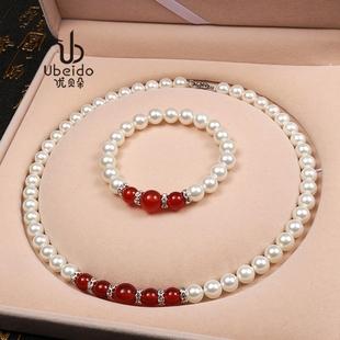 天然淡水贝珠珍珠项链送妈妈婆婆玛瑙颈饰挂链长辈礼物装饰锁骨链图片