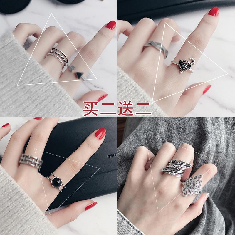 戒指女韩版时尚个性开口食指戒指环复古仿泰银戒指男日韩潮人学生