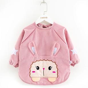 宝宝罩衣防水防脏儿童秋冬季女孩反穿衣围兜吃饭衣水晶绒婴儿围裙
