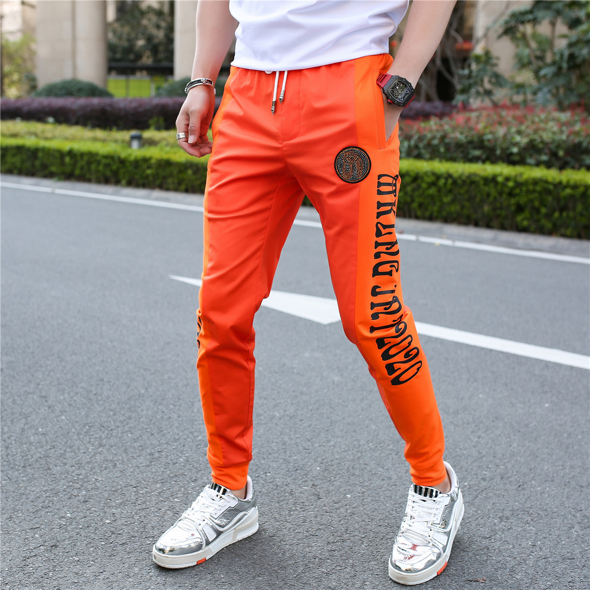 男士2020夏季新款潮流修身束脚运动潮牌小脚白色休闲裤男青年长裤