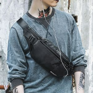 Men's Casual Waist Bag Trendy Fashion Chest Bag Men and Women's New Korean Sports Outdoor Messenger Bag Convenient Small Backpack