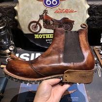vintage复古英伦风真皮圆头休闲中帮切尔西工装马丁沙漠短靴男潮