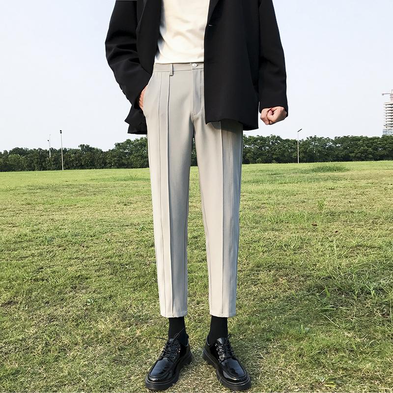 韩版九分西装裤 男士免烫坠垂感小西裤ins港风宽松直筒修身休闲裤