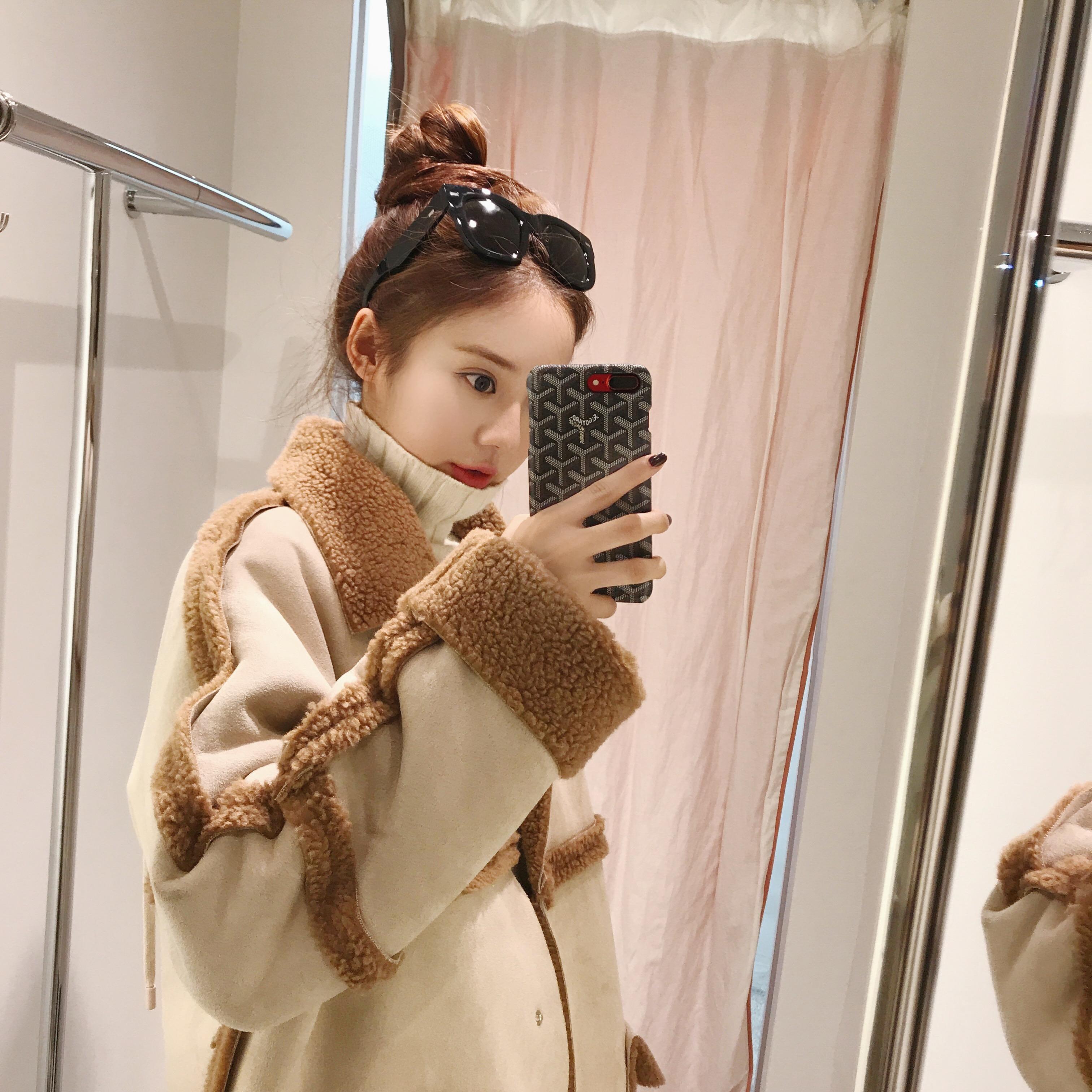 美美的夏夏:冬季2017新款宽松时尚皮毛一体大衣女短款保暖外套女
