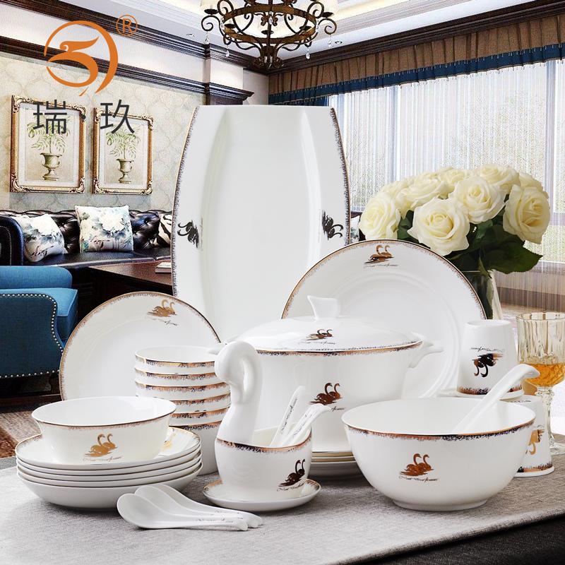 欧式56头骨瓷餐具套装碗盘碟家用西式金边天鹅湖陶瓷套餐餐具礼盒