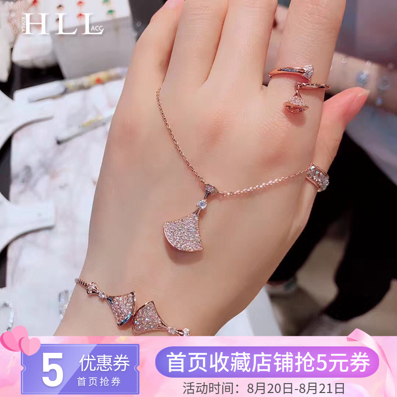 韩国东大门代购爆款小扇子手链 带钻短款项链简约chic时尚戒指潮