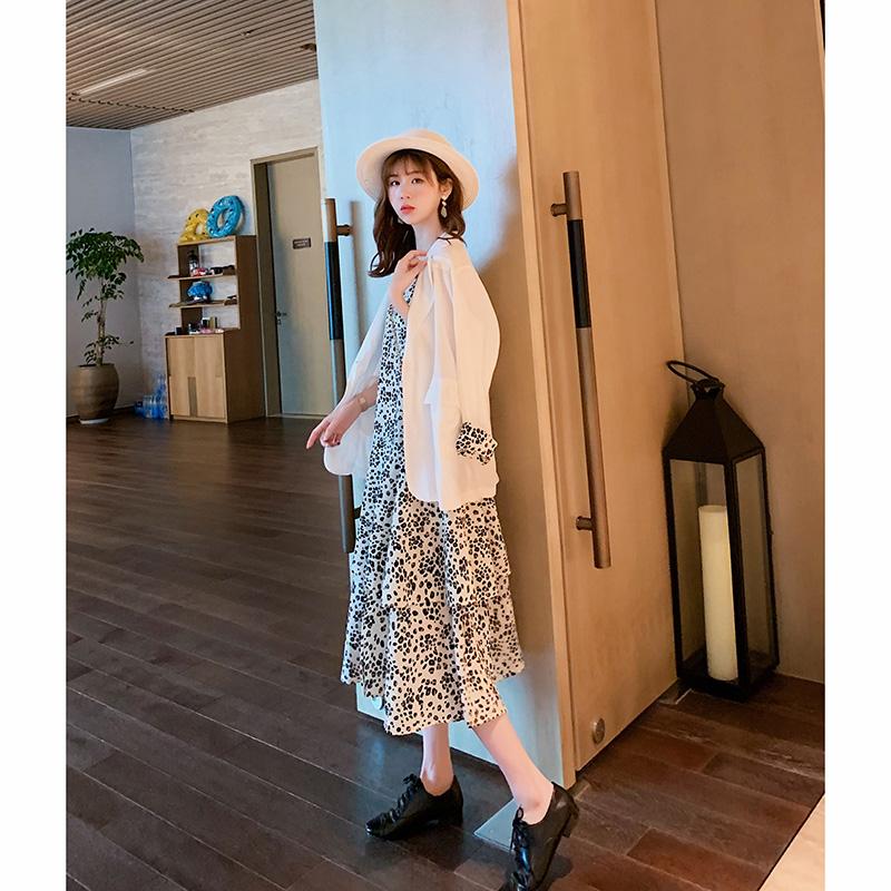 法国小众女神范时尚两件套连衣裙小西装套装女2019夏装新款韩版潮