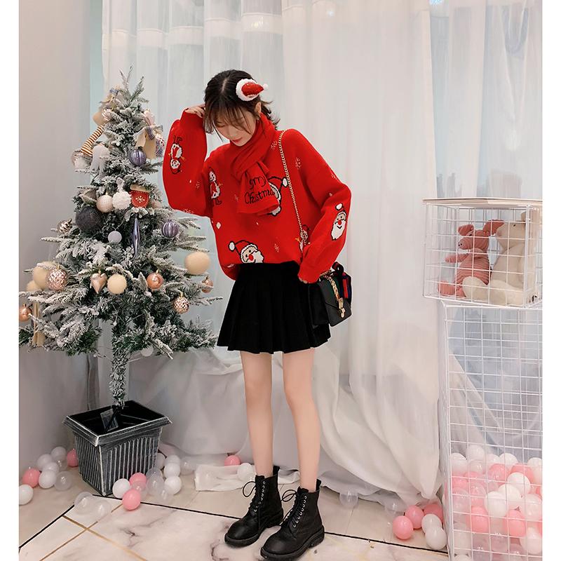 【新品减10】圣诞毛衣女冬红色宽松2018新款很仙的针织衫洋气上衣