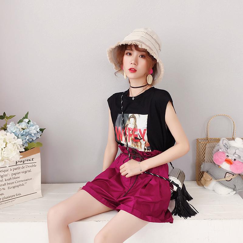 韩版chic时尚套装女夏2018新款宽松高腰阔腿短裤短袖俏皮两件套潮