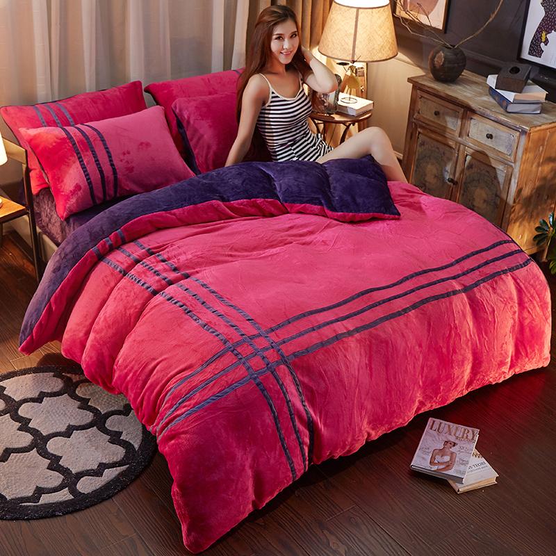 韩版珊瑚绒四件套加厚保暖纯色法莱绒法兰绒1.5m1.8米床单被套冬