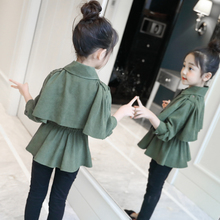 女童秋装外套2021新款lu9儿童装女ft韩款风衣洋气夹克上衣潮