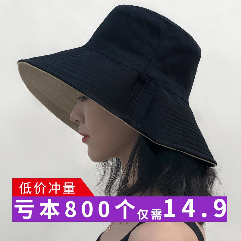 渔夫帽女夏日系文艺chic网红双面防晒遮阳帽韩版百搭ins女士帽子