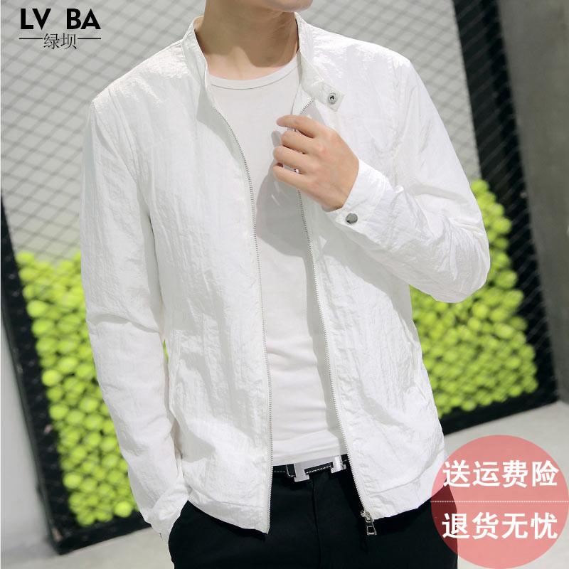 夹克男外套白色休闲外衣男装上衣潮流薄款春秋季土胖子大码上衣服