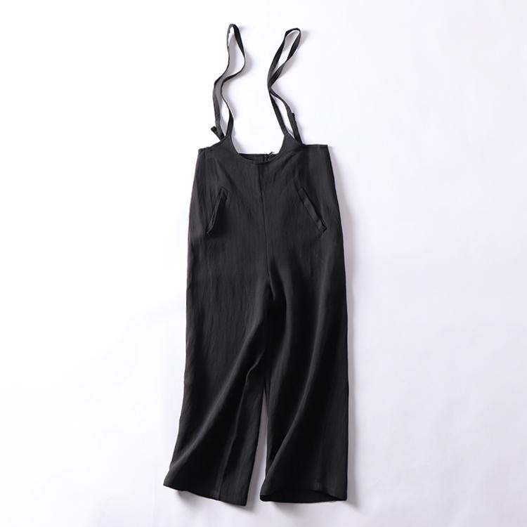 H¥21 2018秋季新款时尚百搭背带裤女韩版纯色宽松直筒高腰休闲裤