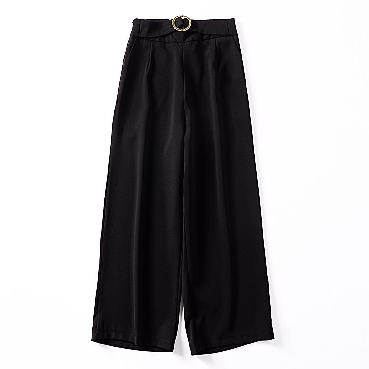 H¥2 秋季新款纯色高腰宽松显瘦长款休闲裤韩版时尚百搭女式长裤