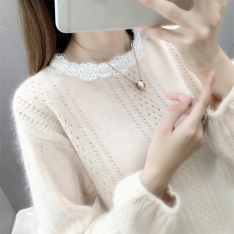 秋季新款圆领小清新蕾丝毛衣女套头宽松韩版学生短款灯笼袖针织衫