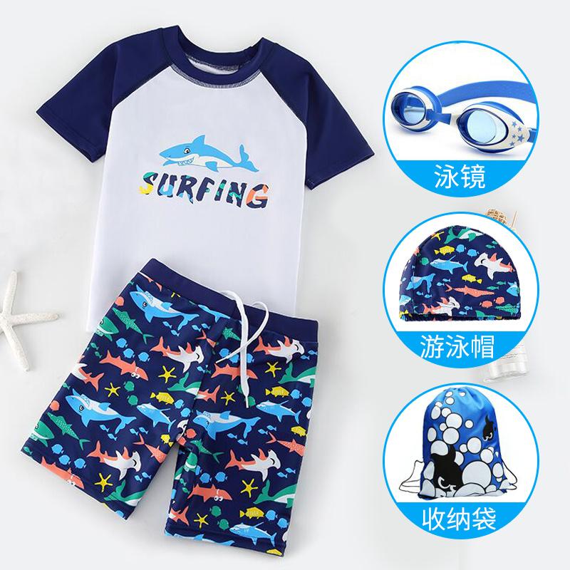 儿童泳衣男童中大童分体游泳衣宝宝小童男孩婴幼儿防晒泳裤套装备