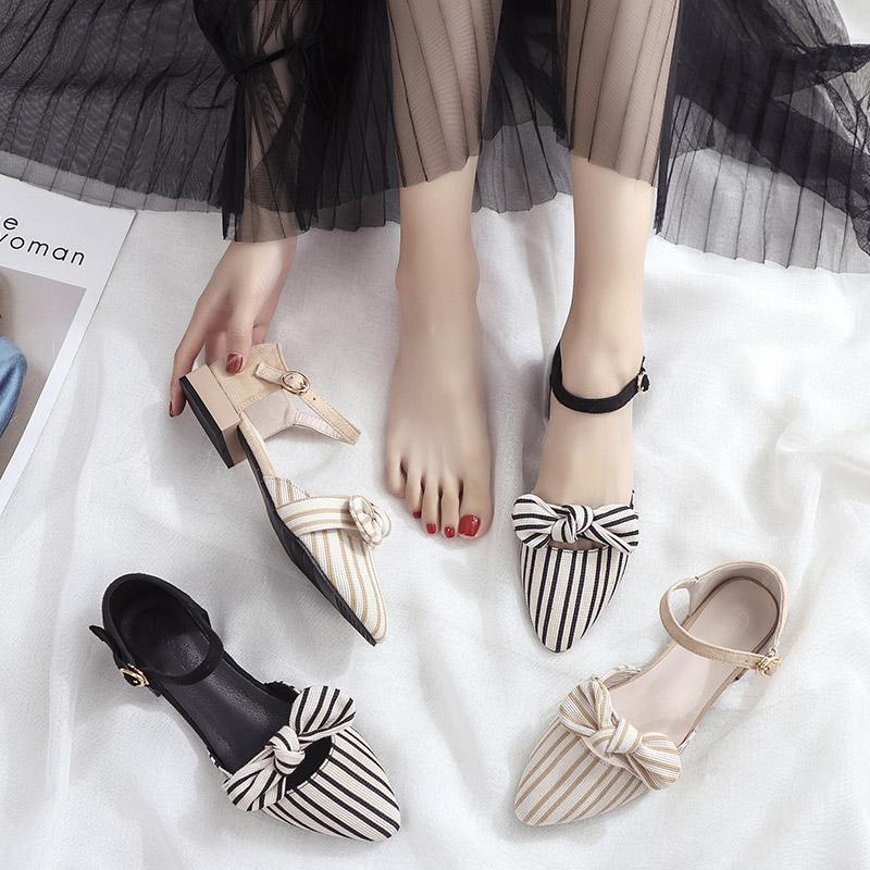 包头 凉鞋 仙女 学生 平底 夏季 新款 温柔
