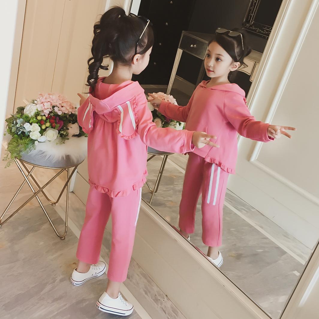 女童秋装套装2018新款韩版兔耳朵连帽上衣+松紧腰休闲棉裤两件套