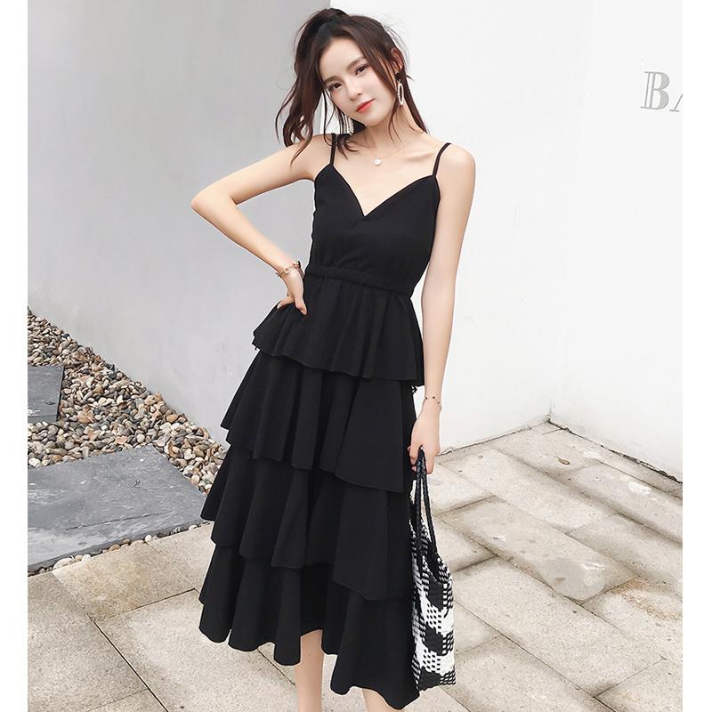 吊带连衣裙2019新款夏仙女裙chic温柔法式复古裙过膝 很仙蛋糕裙