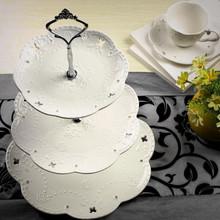 陶瓷水果盘欧式三层wt6心盘蛋糕zk点盘客厅创意糖果托盘架子