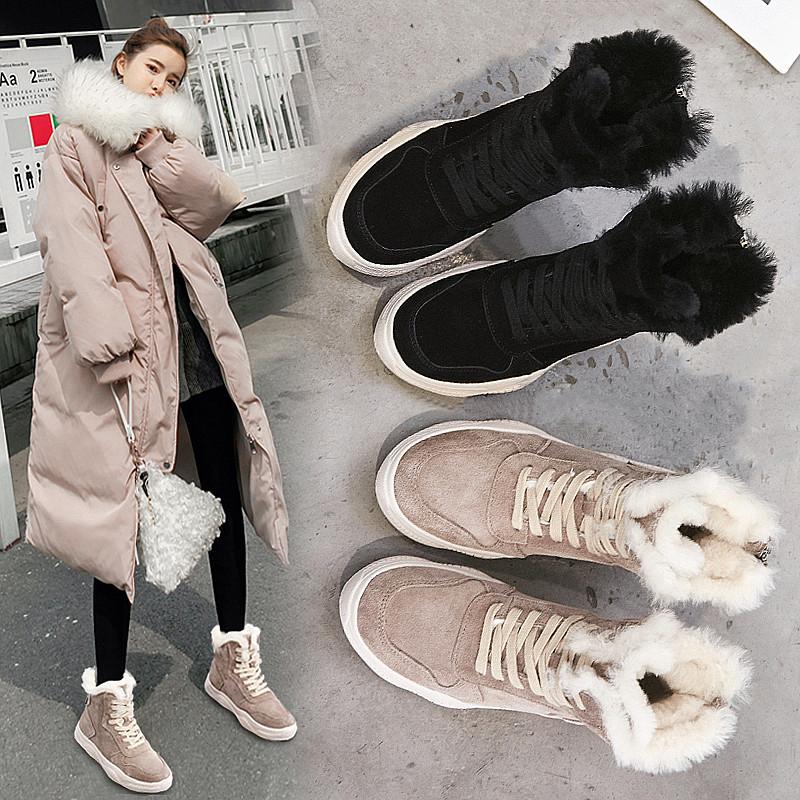 秋冬季高帮马丁靴女2018新款复古英伦风短靴女靴欧美系带板鞋潮鞋