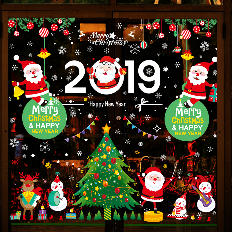 <b>圣诞节玻璃装饰贴画场景布置贴纸墙贴欢迎光临</b>