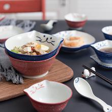 招财猫猫咪碗日式碗盘陶瓷餐具na11用饭碗on子可爱碗碟套装