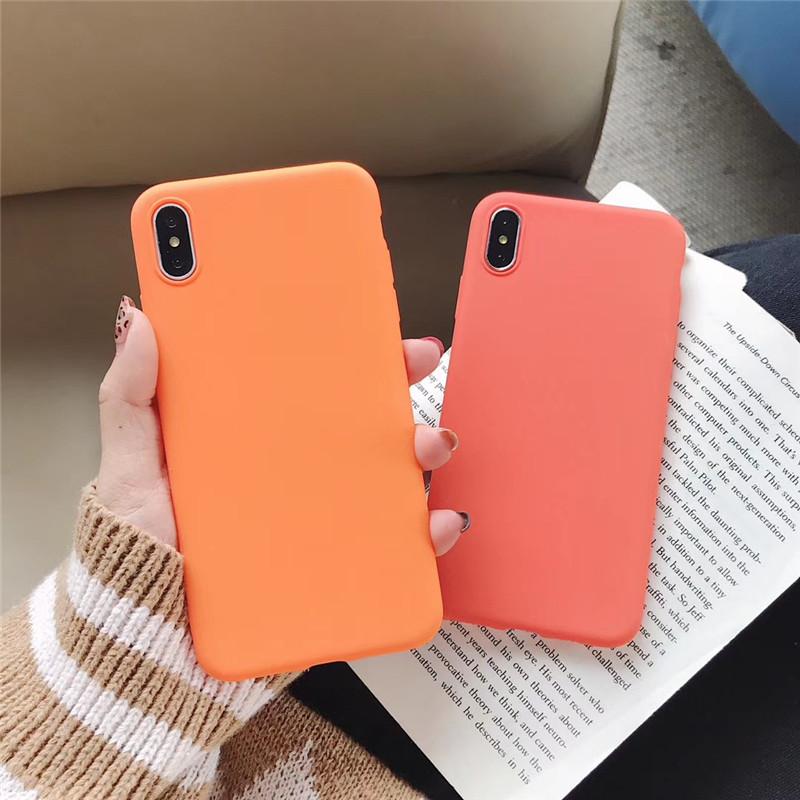 珊瑚活力橙色iPhoneXS MAX纯色手机壳苹果8plus/7/xr细磨砂软壳6s