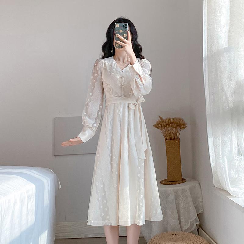 实拍#2020大喜自制春季新款显瘦长袖重工蕾丝连衣裙 -