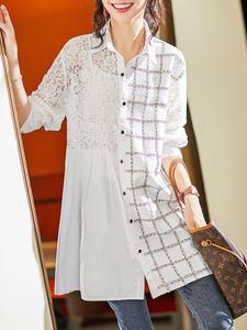 蕾丝拼接女士衬衫2021新款秋欧洲站时尚女装气质显瘦格纹,女装大码女装,韩依屋