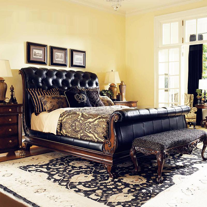 布艺邦家具美式真皮床实木双人床法式新古典欧式婚床雕花床1.8米