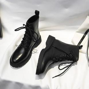 马丁靴女2020春夏新款韩版百搭厚底系带机车靴学院风街拍短靴潮鞋
