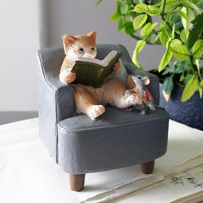 真自在创意看书猫控摆件仿真小公仔送女生男生生日礼物送毕业学生