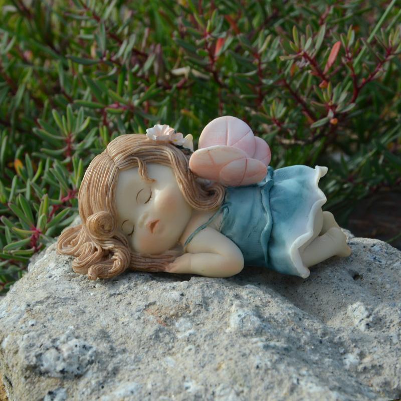创意可爱小女孩天使睡觉的精灵花仙子汽车摆件情侣少女心装饰礼物