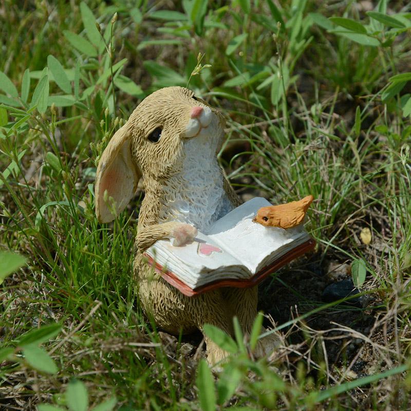 可爱兔子摆件装饰品公仔花园汽车树脂创意小生日礼物送男朋友女生
