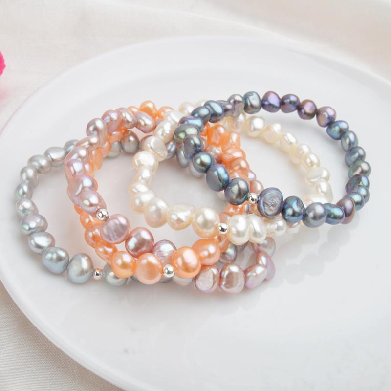 阿施琦特价天然淡水珍珠手链异形巴洛克复古风ins小众手串925银珠