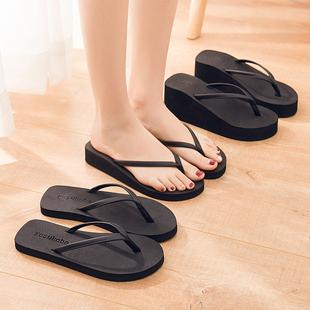 夏季男女情侣人字拖夹脚凉拖鞋潮流沙滩拖时尚平底跟中跟高跟防滑