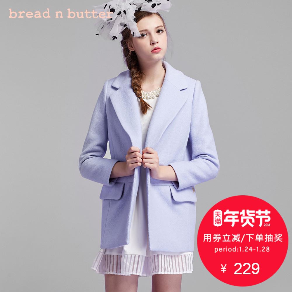 【年货节】bread n butter冬季修身大衣西装款大翻领毛呢外套