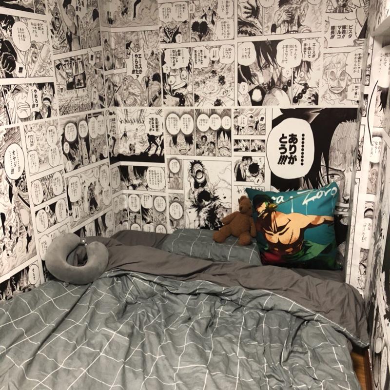 手绘漫画海贼王墙纸奶茶甜品店日式餐厅墙布宿舍卧室床头背景壁纸