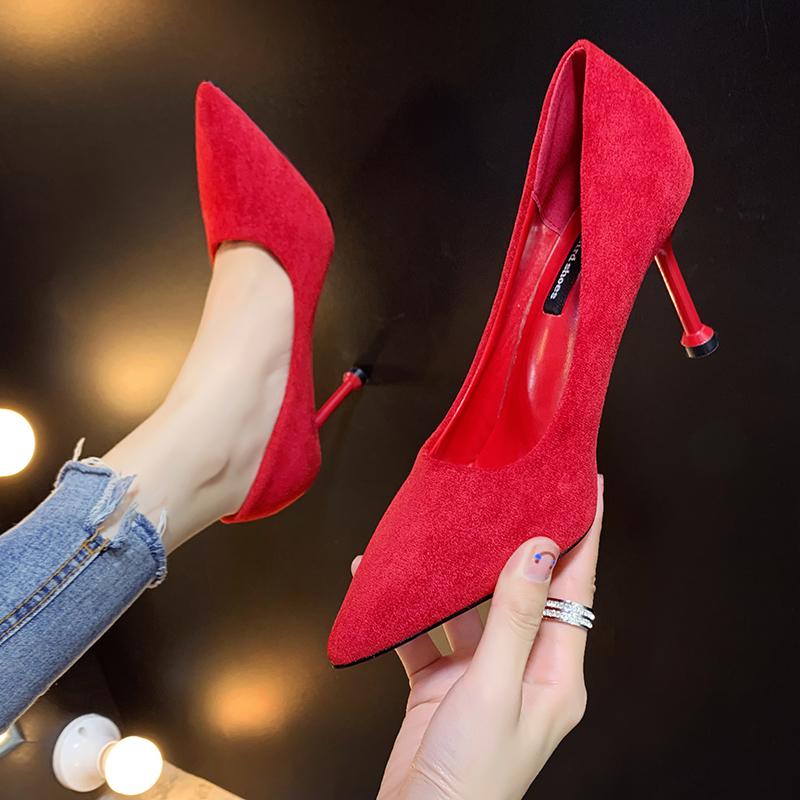婚鞋女猫跟2019新款细跟时尚红色高跟鞋浅口工作女鞋