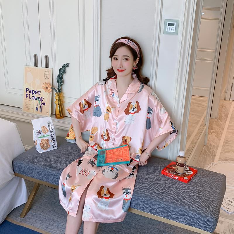 夏季睡衣女士薄款冰丝韩版宽松短袖开衫可爱家居服夏天仿真丝睡裙 -