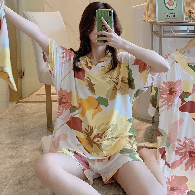 睡衣女夏季短袖两件套学生宽松韩版清新夏天甜美可爱家居服