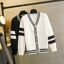 针织外套女秋冬新式lt6款宽松条mi侣长袖毛衣开衫慵懒上衣厚